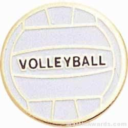 """3/4"""" Etched Soft Enamel Volleyball Chenille Letter Pin"""