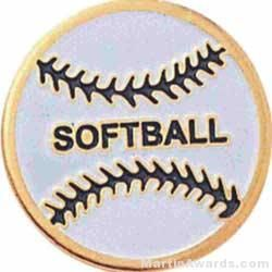 """3/4"""" Etched Soft Enamel Softball Chenille Letter Pin"""