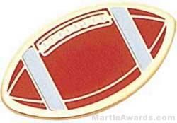 """1"""" Etched Soft Enamel Football Chenille Letter Pin"""