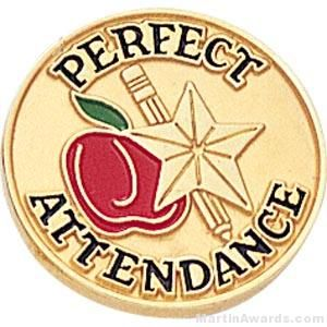 """3/4"""" Perfect Attendance Round Enameled Lapel Pins"""