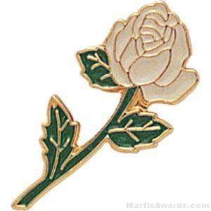 White Rose Enamel Lapel Pins