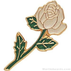 White Rose Enamel Lapel Pins