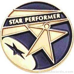 Star Performer Round Enamel Lapel Pins