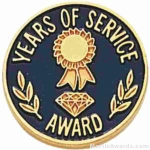 """3/4"""" Years Of Service Enameled Lapel Pins with Regular Clutch"""