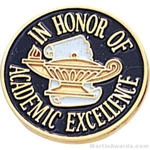 In Honor Of Academic Excellence Round Enamel Lapel Pins