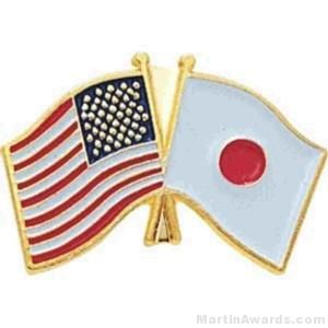 "3/4"" Japanese-American Flag Pins"