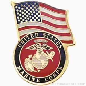 "3/4"" U.S. Marines American Flag Pins"