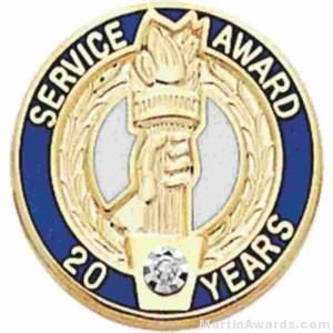 """3/4"""" Service Recognition Award Pins 20 Years with Diamond"""