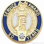 3/4″ Service Recognition Award Pins 15 Years with Diamond 1