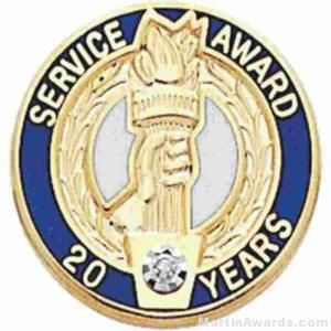 """3/4"""" Service Recognition Award Pins 15 Years with Diamond"""