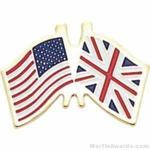 "3/4"" British American Flag Pins"