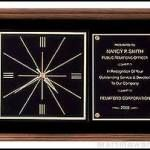 Clock Plaque Award – American Walnut Wall Clock Plaque Award with 2 Hanging Positions 1
