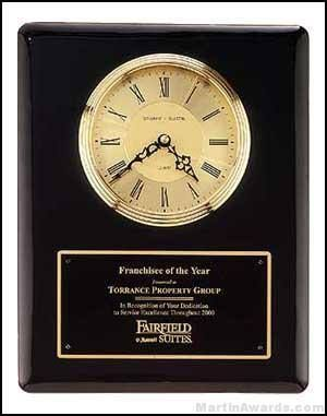 Black Piano-Finish Wall Clock Plaque Award