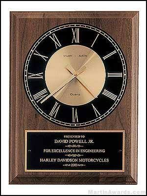 Walnut Wall Clock Plaque Award