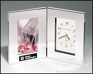 Desk Award - Combination Clock/Photo Frame in Polish Silver Aluminum
