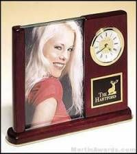 Desk Clock Award with Picture Frame