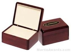 Desk Award - Wood Box with Engravable Plate Desk Accessories