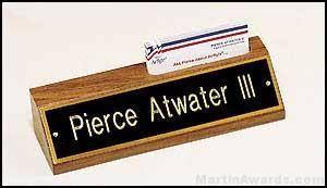 Desk Easel - Walnut Desk Easel with Business Card Holders
