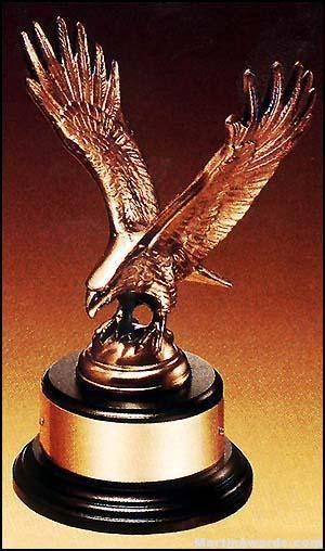 Eagle Award - Antique Bronze Cast Eagle Award with Black Round Base